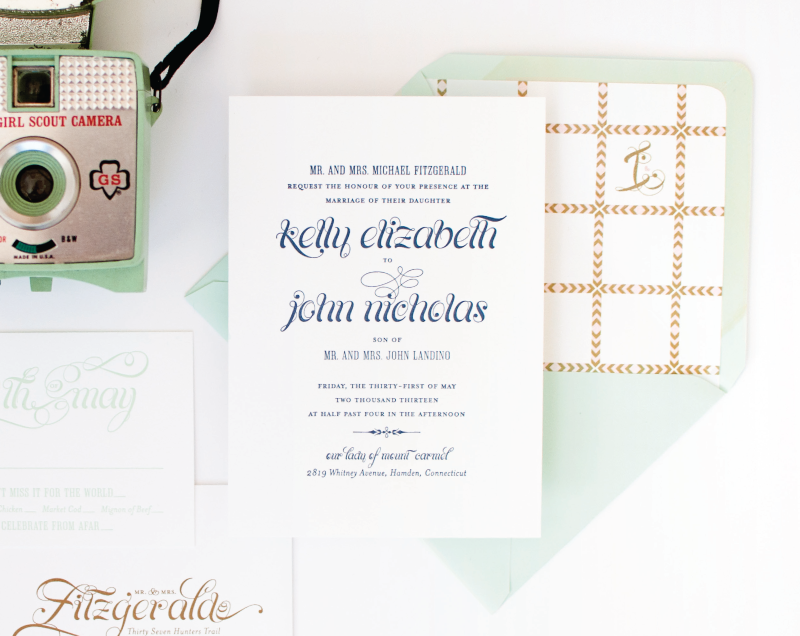 Mint and Pink Wedding Invitation | Coral Pheasant