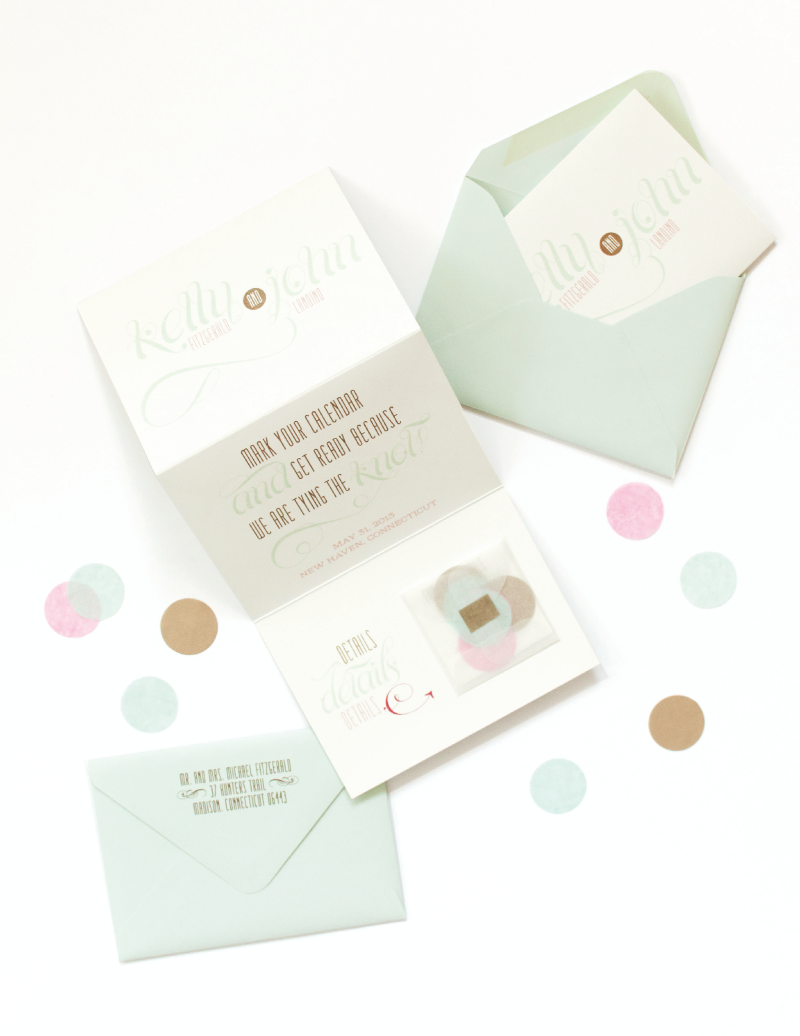 Mint and Pink Save the Date | Coral Pheasant