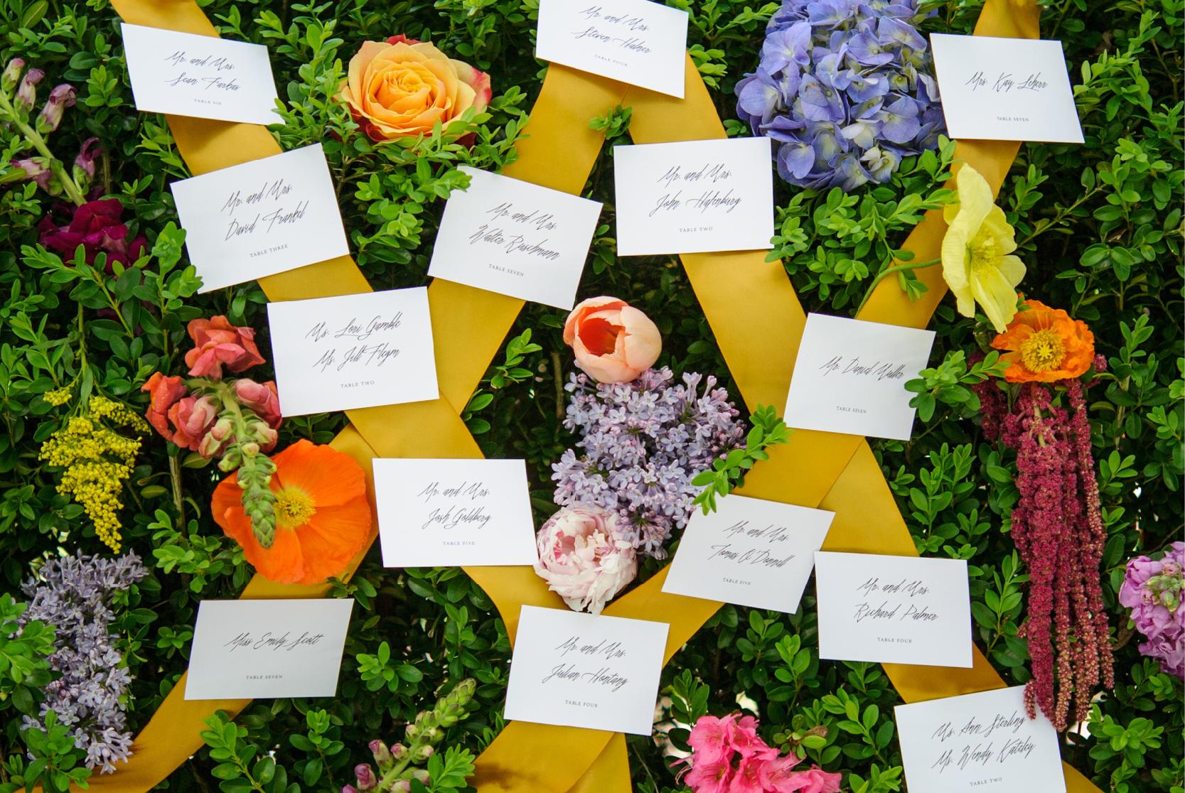 Gustav Klimt Inspired Escort Cards | Coral Pheasant