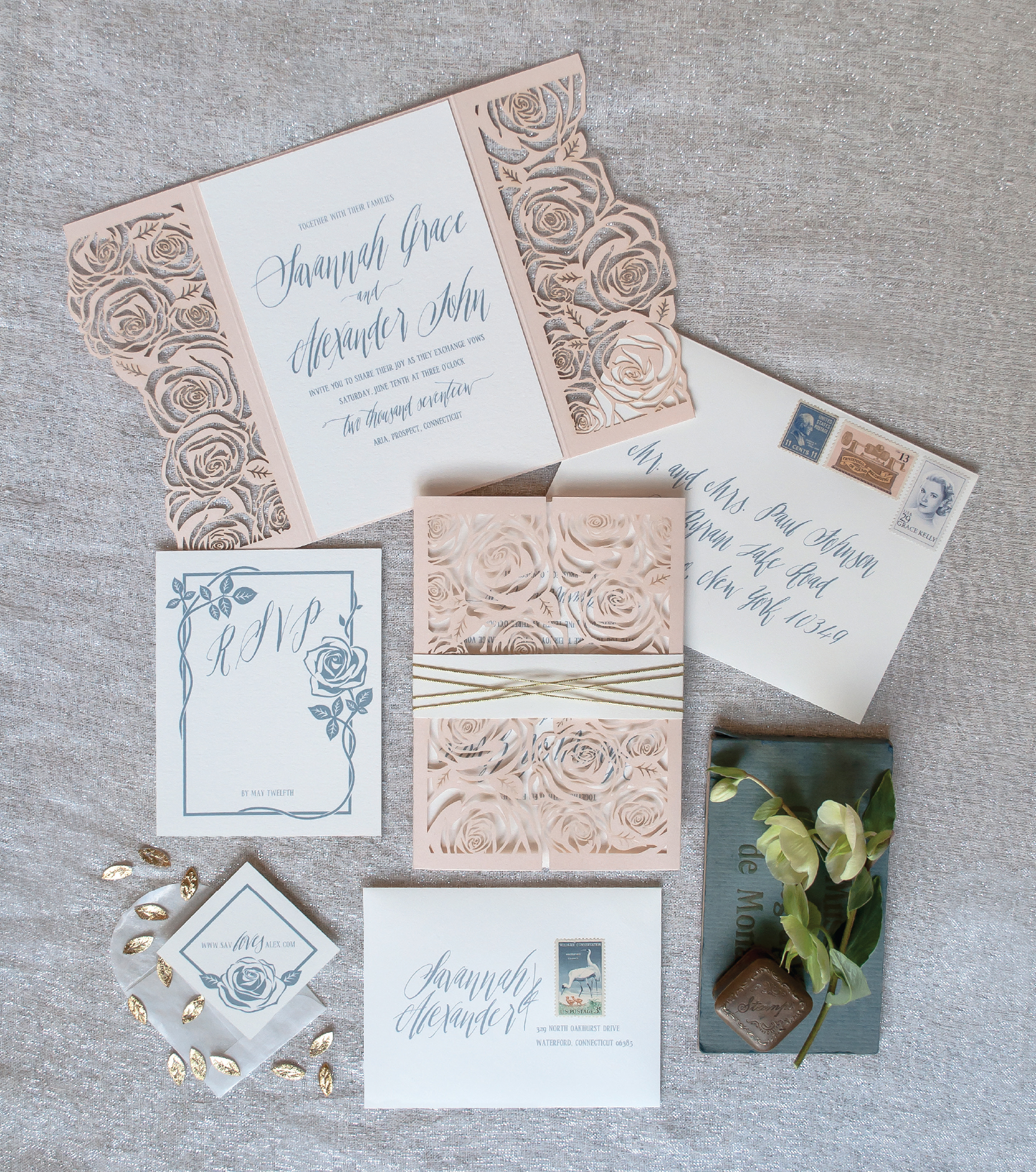Luxury Glam Invitation Suite | Coral Pheasant