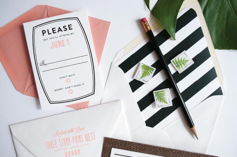 Graphic South Beach Wedding Invitations   Coral Pheasant