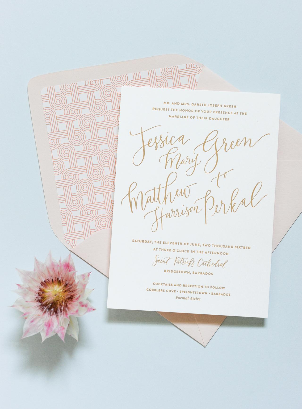 Modern Tropical Destination Wedding Invitations Coral Pheasant