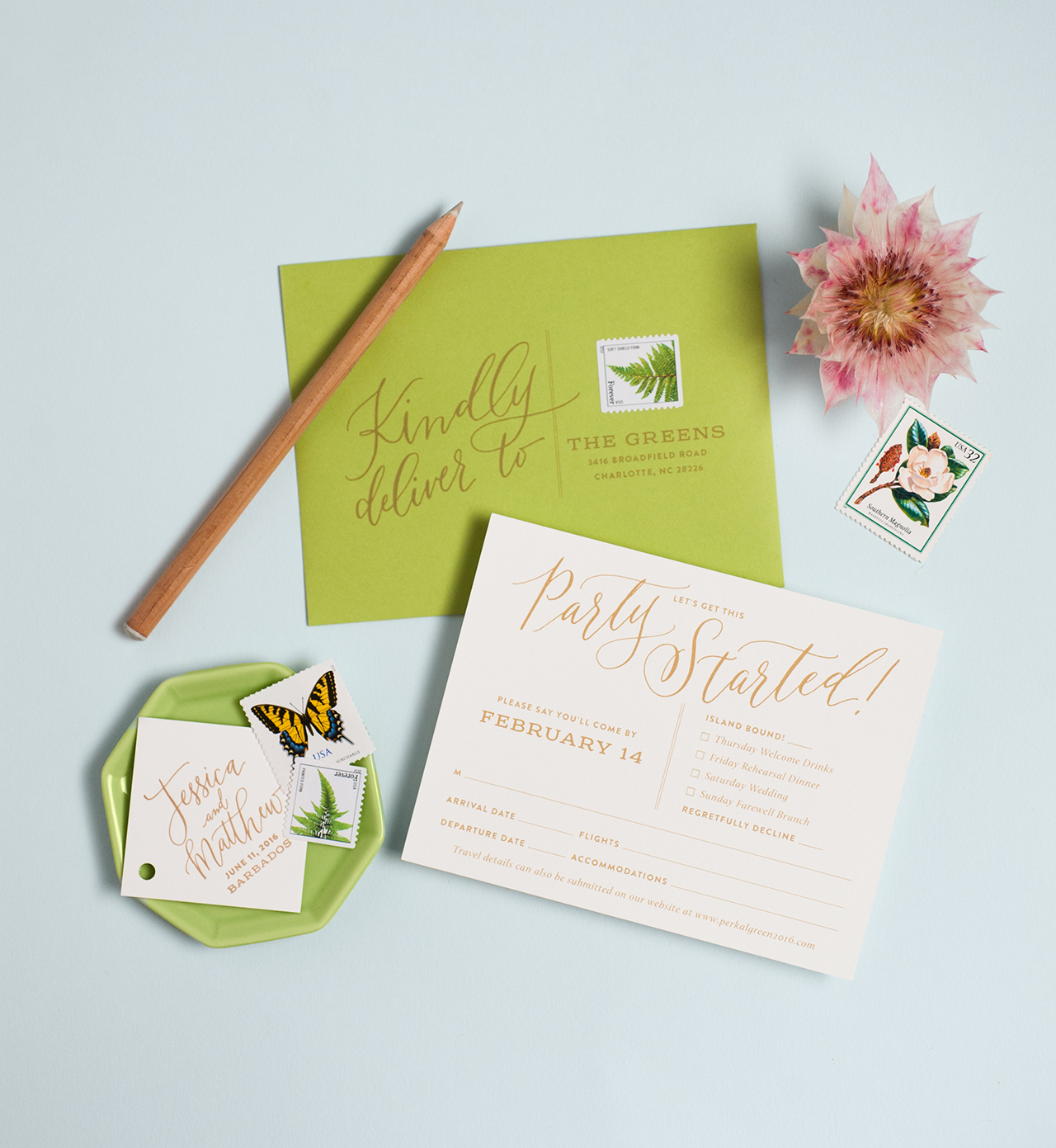 Modern Tropical Destination Wedding Invitations - Coral Pheasant