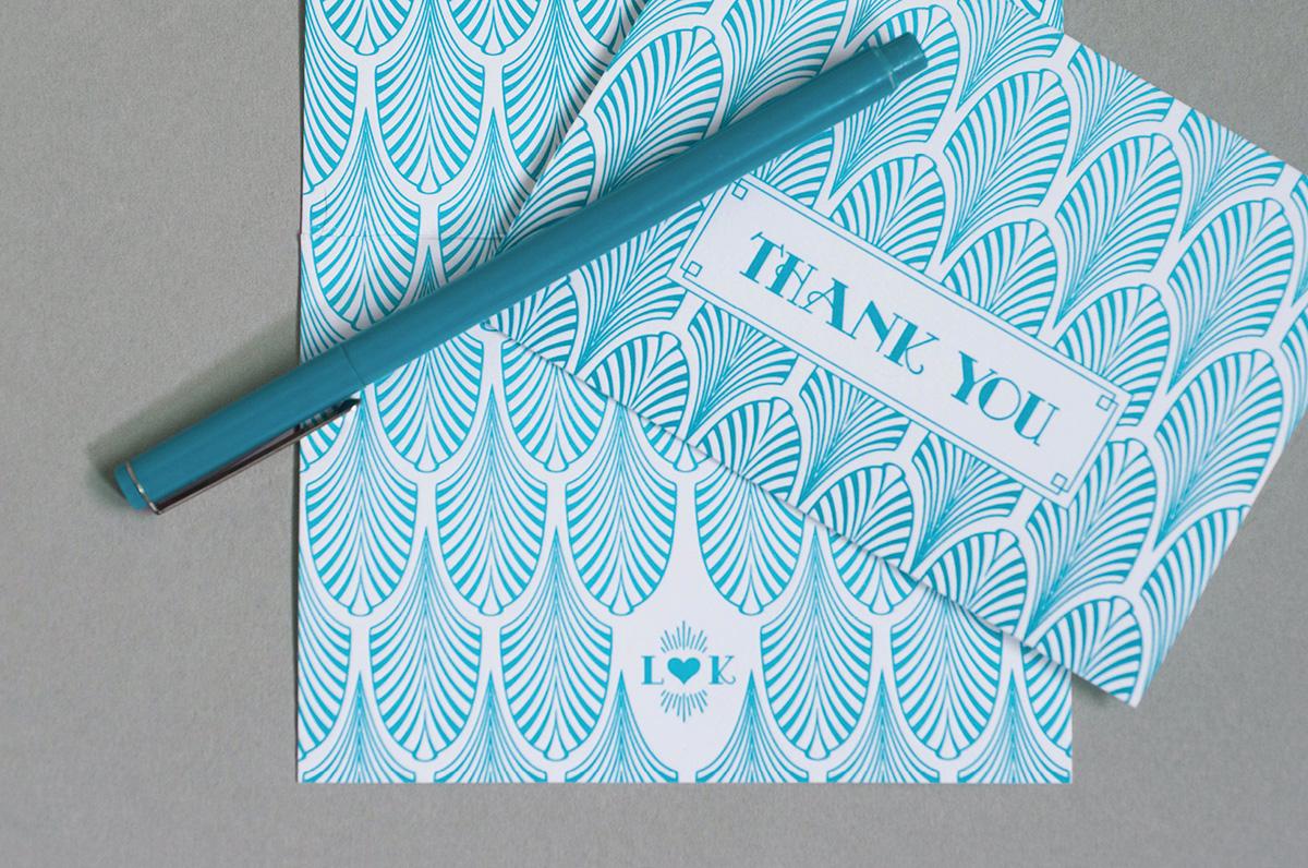 Art deco thank you card with letterpressfan pattern