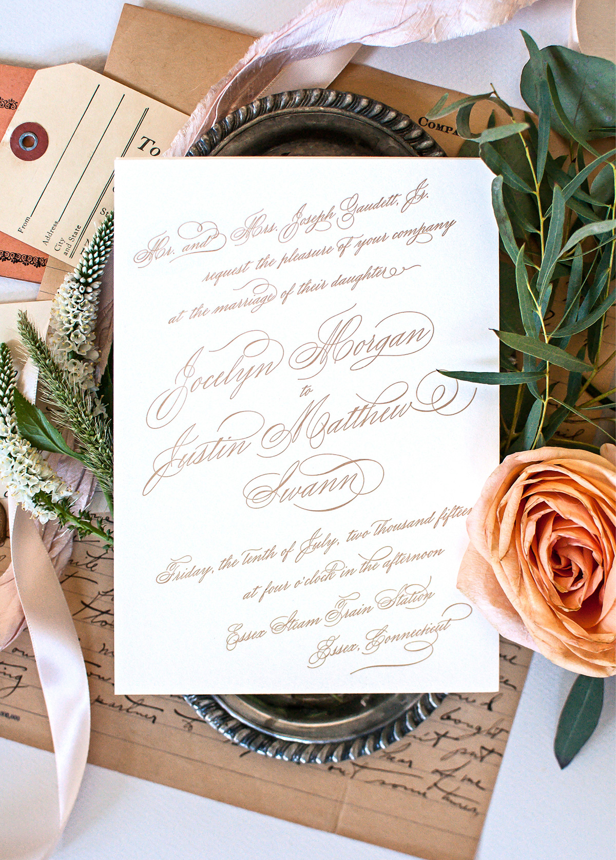 Romantic gold script letterpress wedding invitation