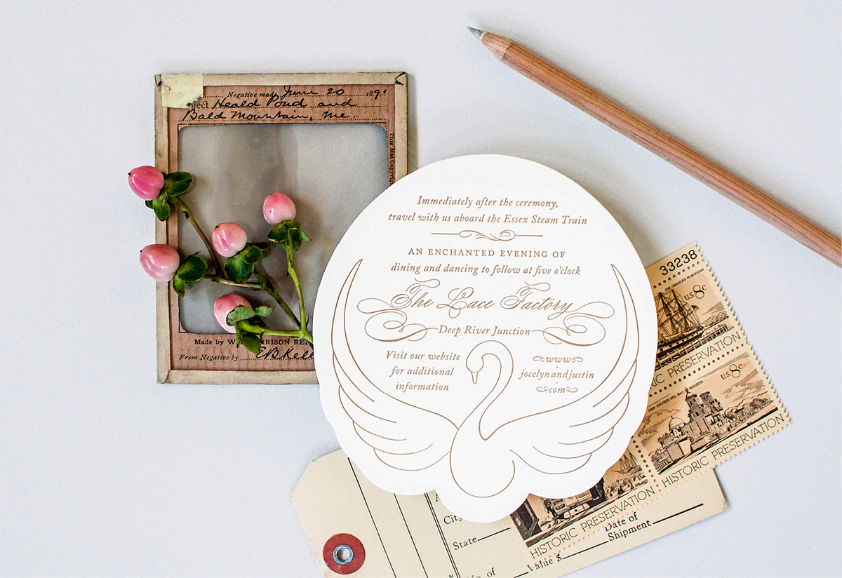 Swan die cut wedding details card
