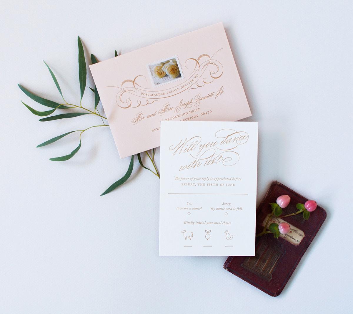 Romantic gold script letterpress wedding rsvp