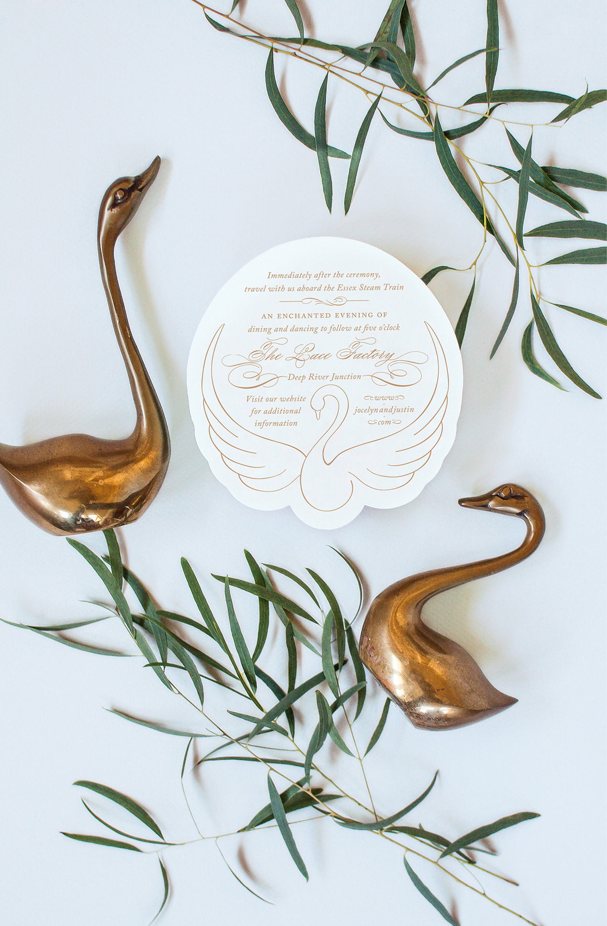 Swan die cut wedding details card
