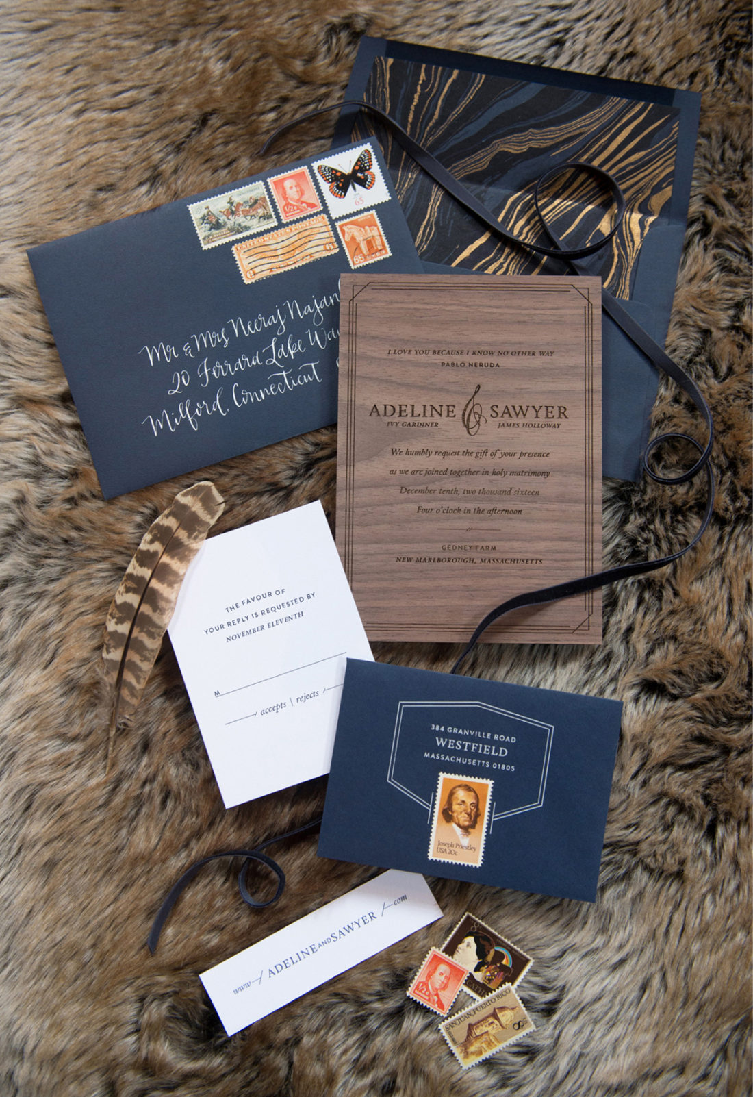 Modern Masculine Navy Blue Invitations | Bliss Celebrations - Coral ...