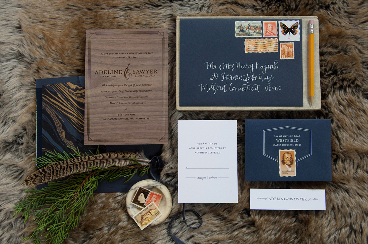 Classic and modern laser etched wood wedding invitation