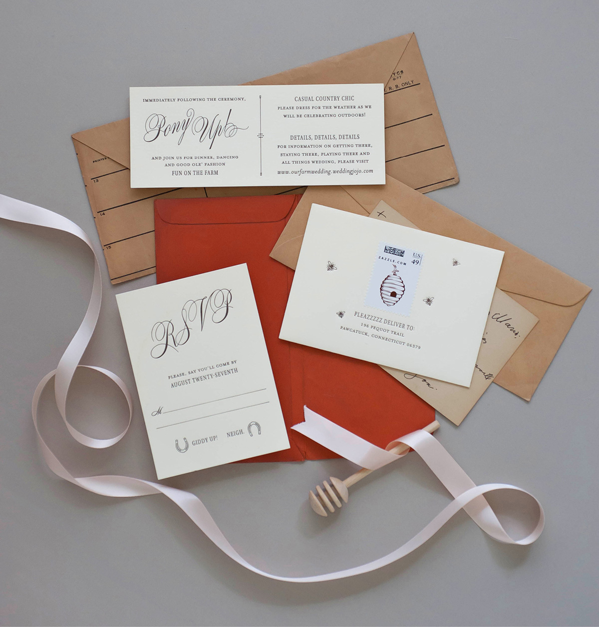 Classic letterpress invitations for a horse farm wedding