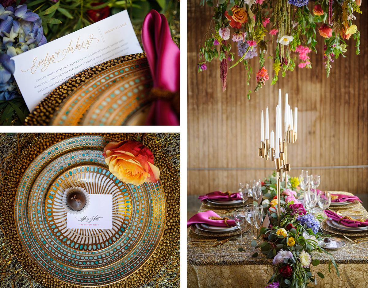 Gustav Klimt inspired whimsical wedding invitation
