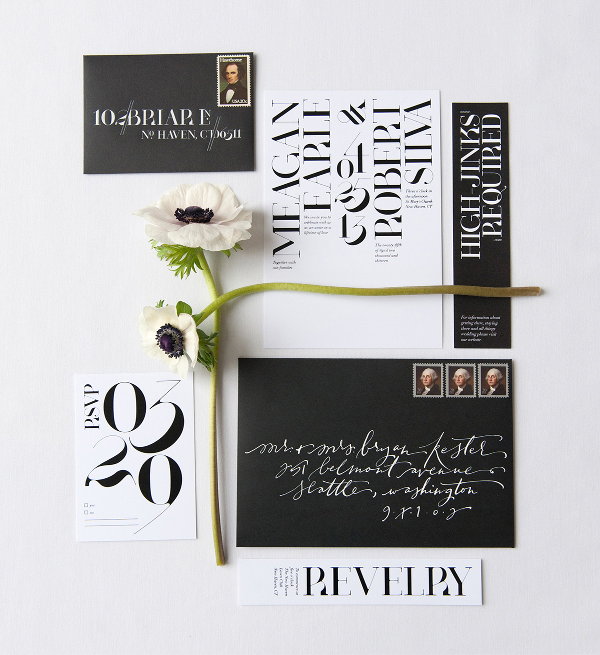 Modern graphic black and white wedding invitation