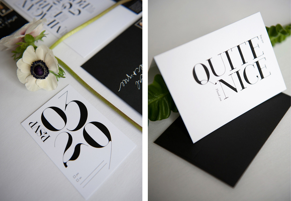 Modern graphic black and white thank you note