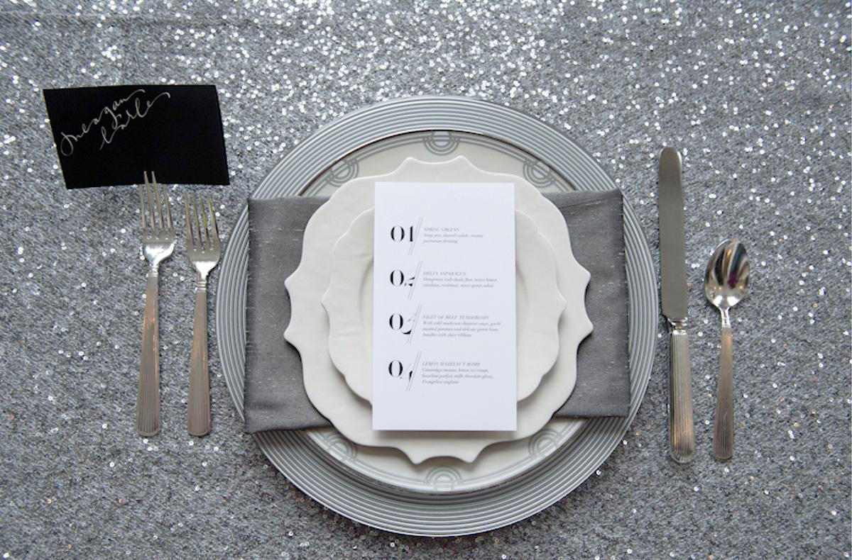 Modern graphic black and white wedding menu
