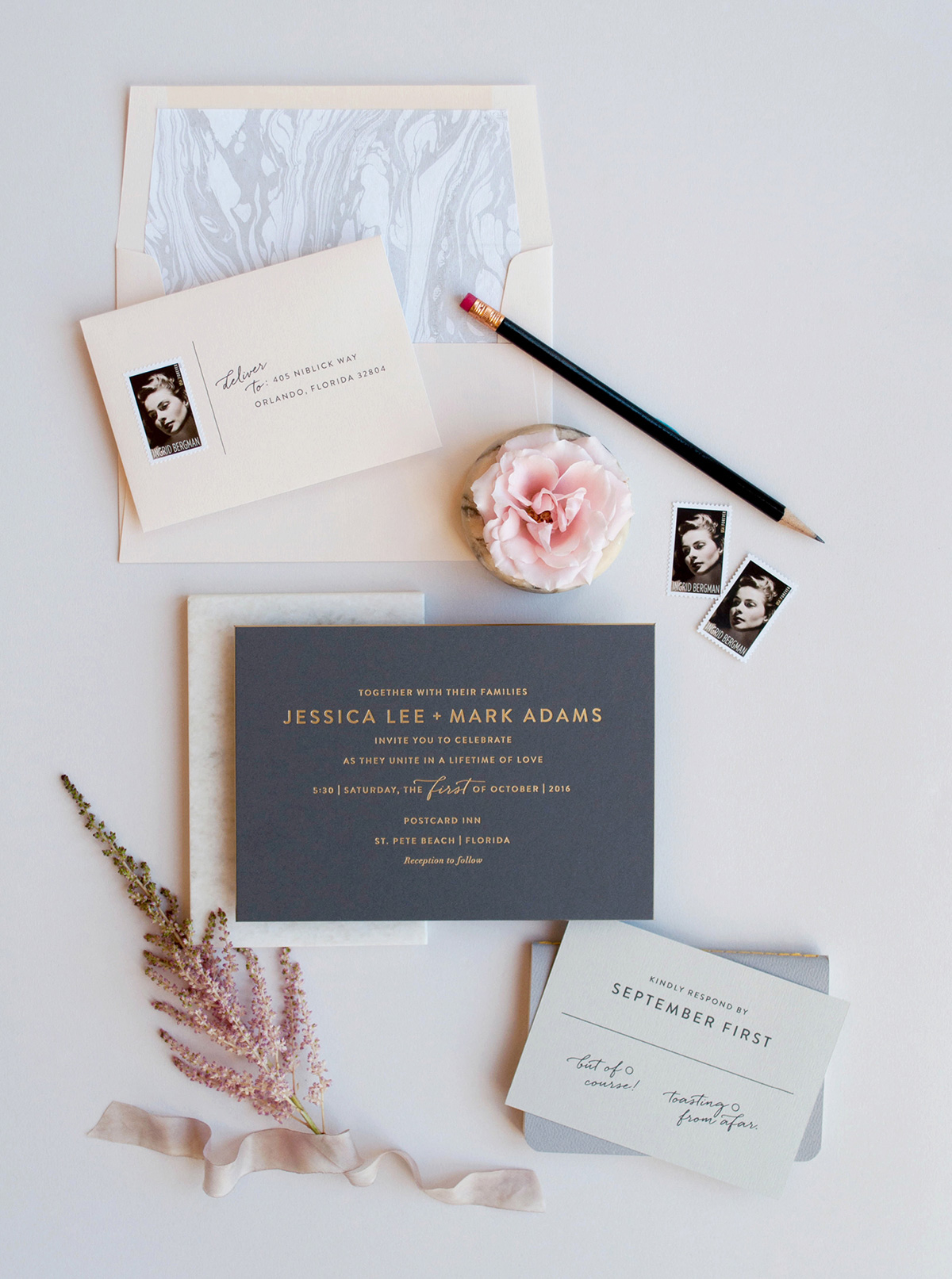 Gold foil stamped modern wedding invitation on thick grey paper