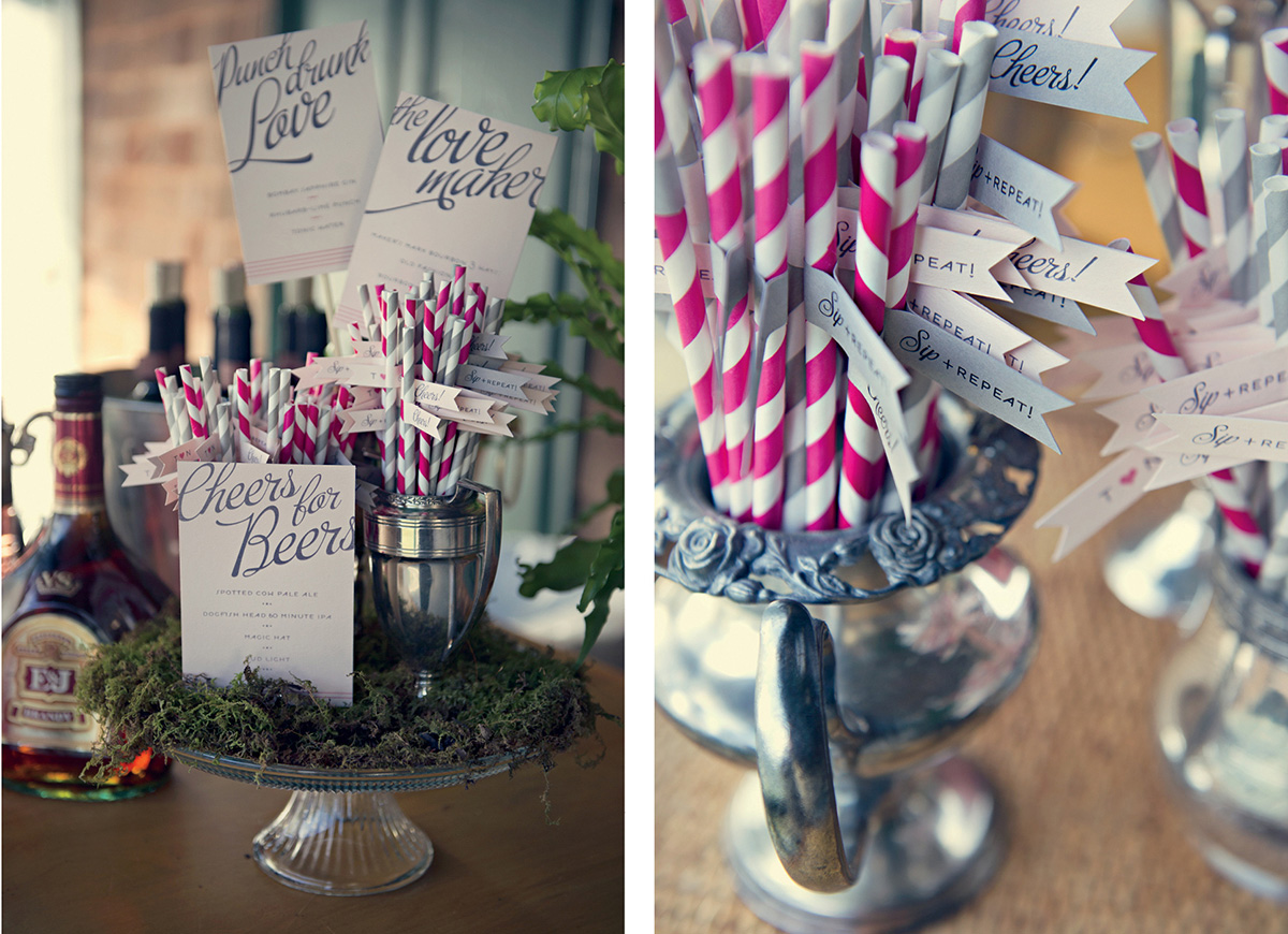 Striped cocktail straws with custom flags
