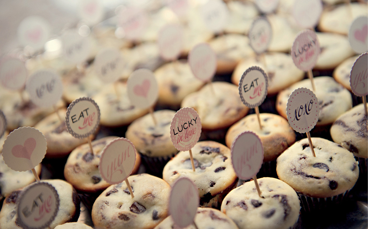 Lucky in love wedding cupcake toppers