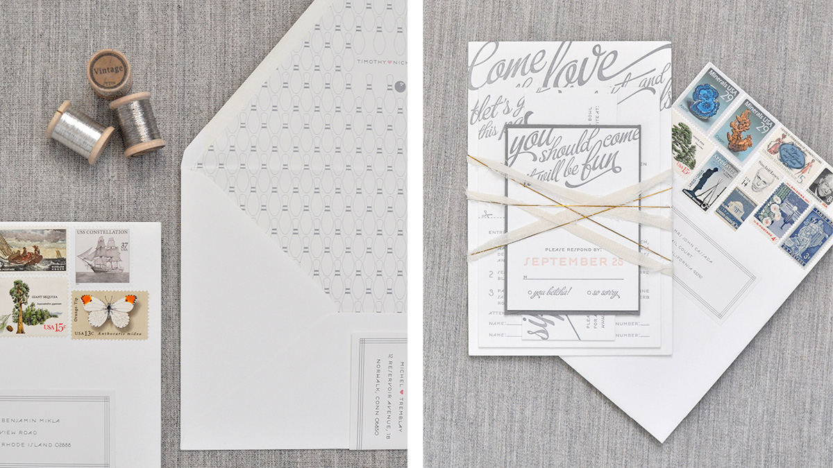 Playful and whimsical gray and blush wedding invitation