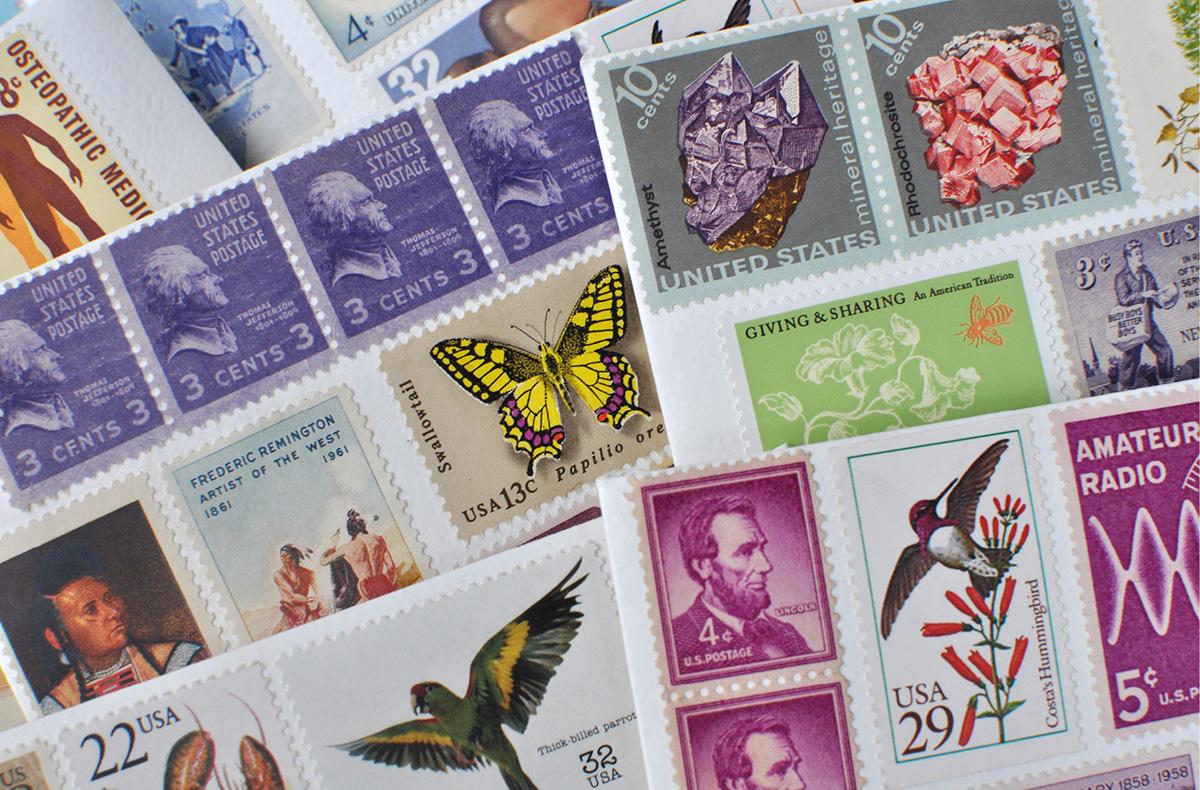 Wedding invitation with vintage stamp collage