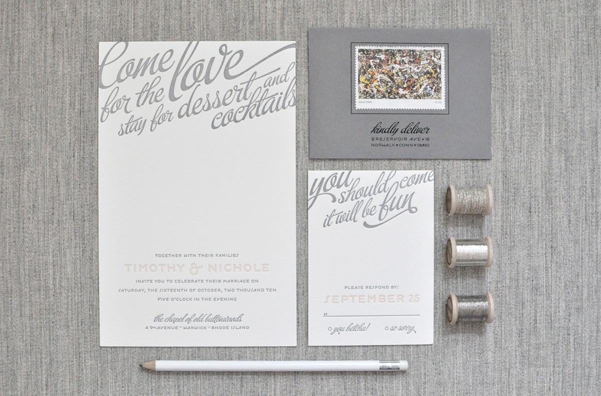 Playful and whimsical gray and blush wedding invitation