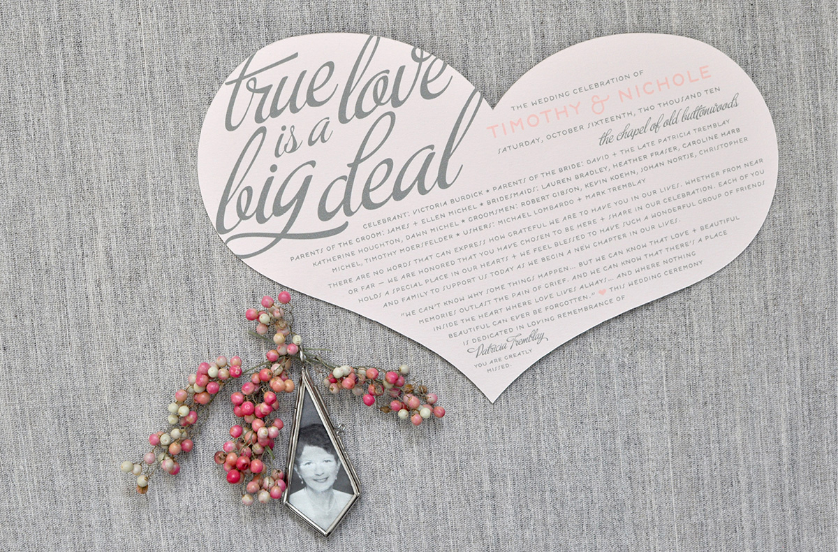 True love is a big deal die cut heart wedding program