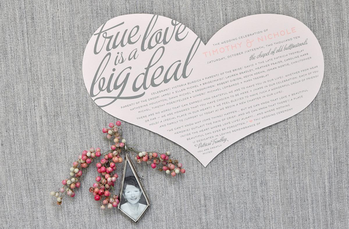 True love is a big deal die cut heart wedding program