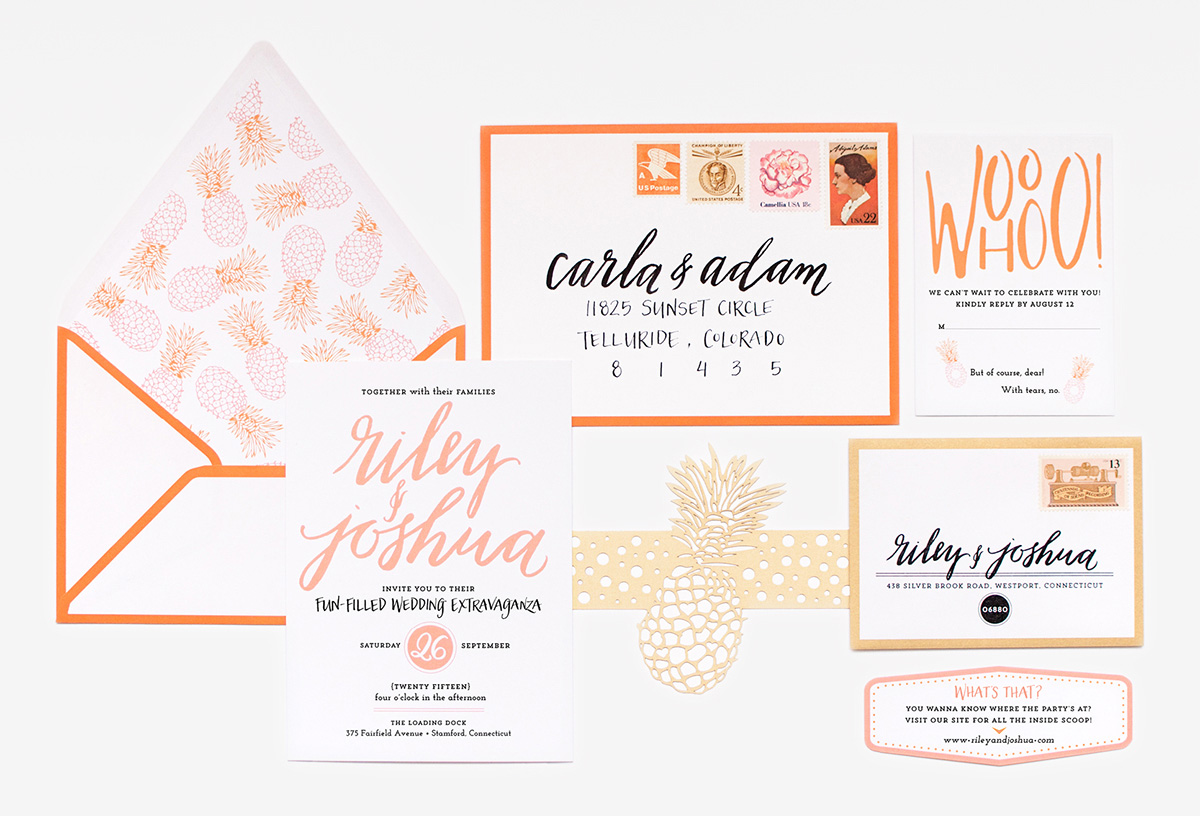 Palm Beach inspired pink and orange pineapple wedding invitation
