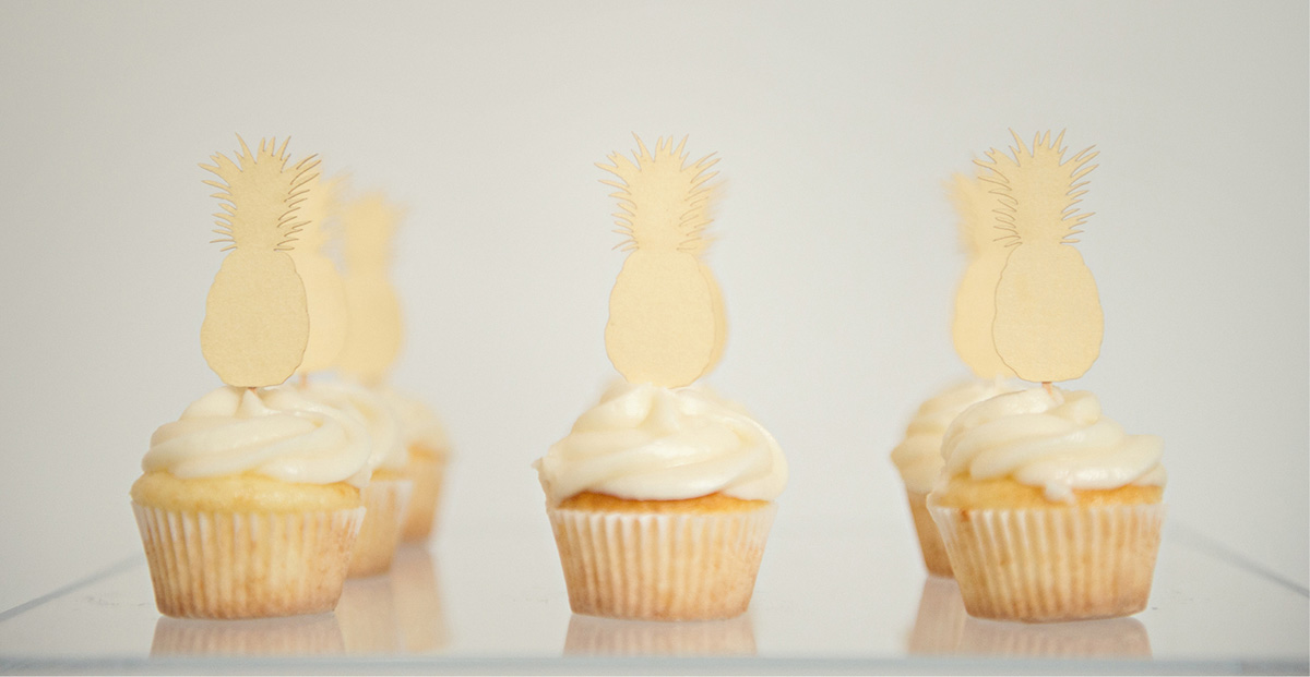 Palm Beach inspired pineapple cupcake toppers