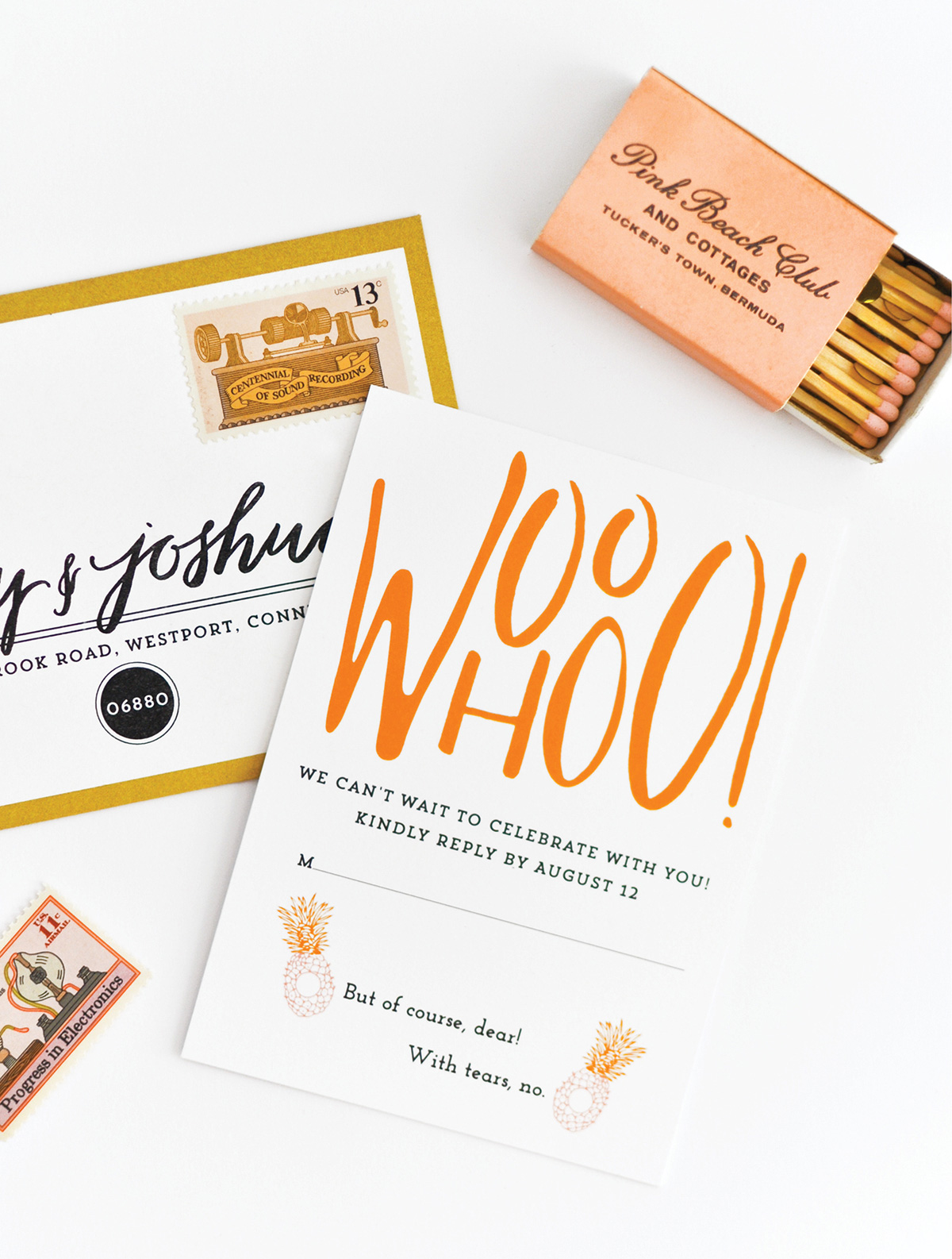 Palm Beach inspired gold and orange wedding rsvp card