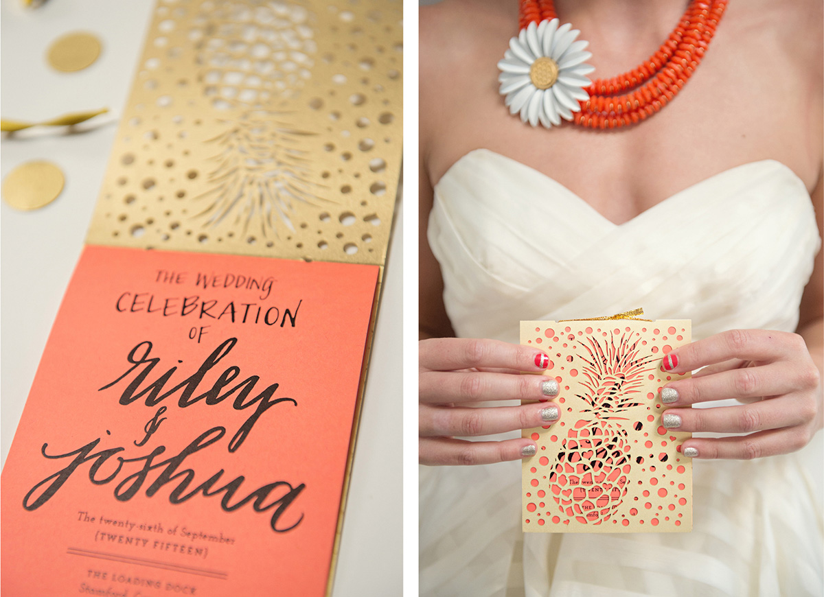 Palm Beach inspired gold and orange pineapple pineapple wedding program