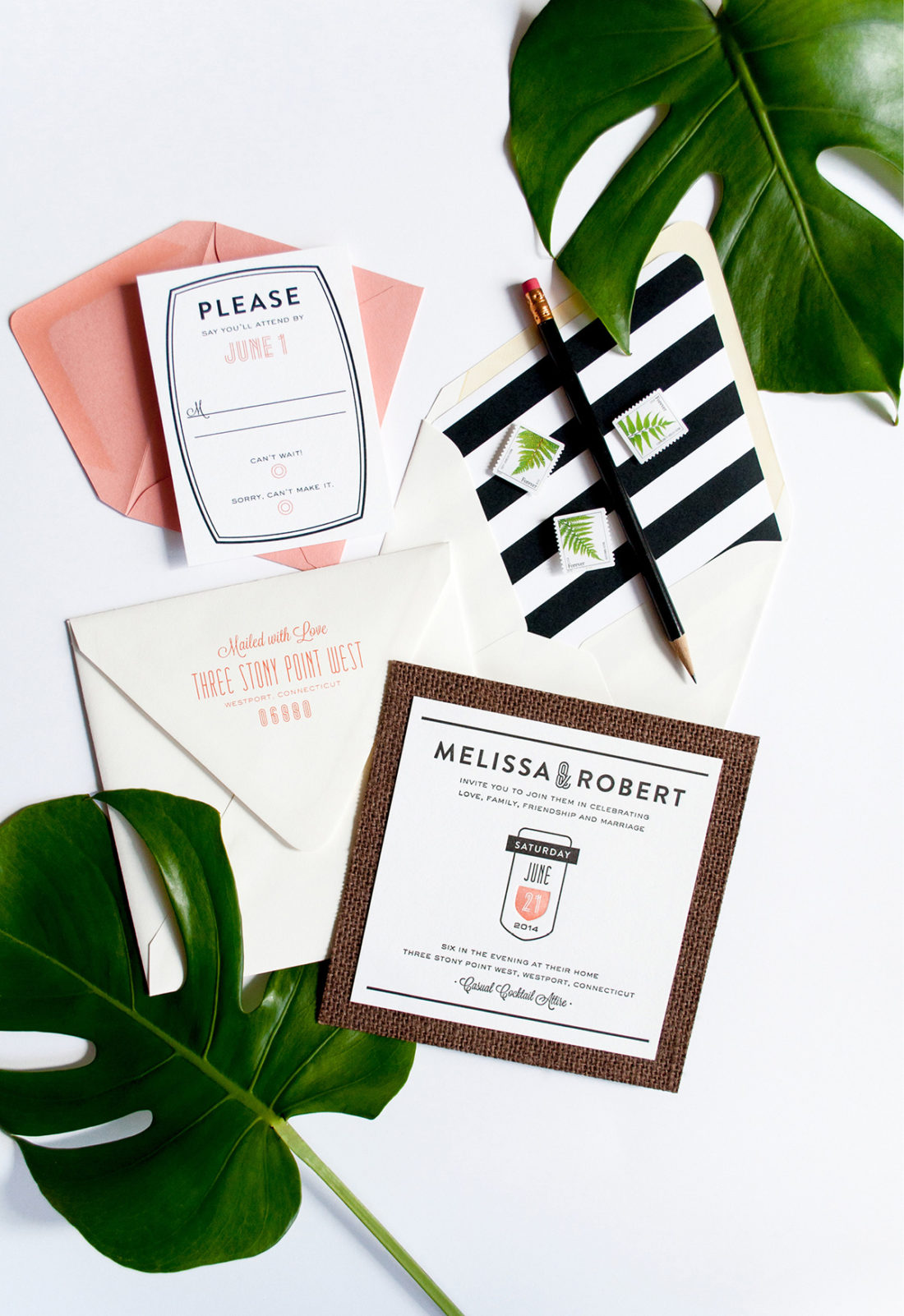 South Beach inspired grasscloth and letterpress wedding invitation