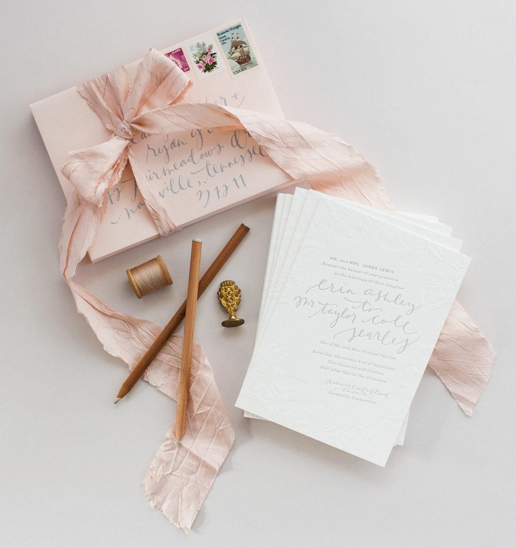 erin taylors romantic blush and grey wedding invitations coral pheasant - Coral And Grey Wedding Invitations